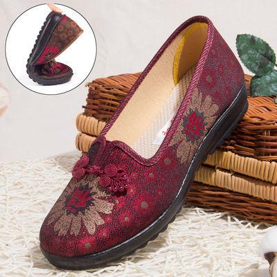 北京老布鞋女秋新款中老年妈妈老人鞋奶奶鞋防滑软底闰月红色鞋子