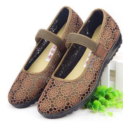 老太太凉鞋中老年女鞋夏2020新款老北京布鞋软底妈妈平底网鞋女式