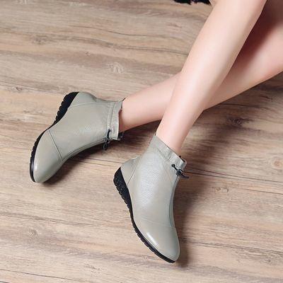 【单鞋女】真皮牛皮软底软面休闲叶边成短靴裸靴马丁靴妈妈鞋女
