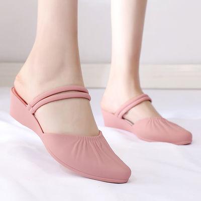 时尚新款凉鞋女浅口两穿防滑软底坡跟包头凉鞋百搭时尚韩版果冻鞋