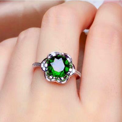 祖母绿宝石新款戒指女 姐姐同款可爱戒指 乘风破浪纯银首饰戒指盒