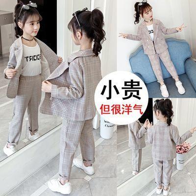 春装新款女童小西装套装时尚韩版洋气宝宝两件套格子西装休闲裤女