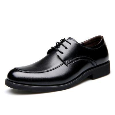 尖头英伦商务男鞋系带男士皮鞋宴会派对真皮鞋子时尚潮流黑色休闲