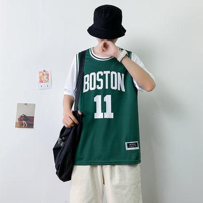 欧文11号凯尔特人球衣男nba假两件男士t恤宽松潮牌嘻哈街头篮球服
