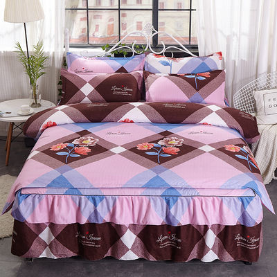 加厚床裙式四件套被套床罩韩版公主风床上用品仿纯棉全棉特价欧式