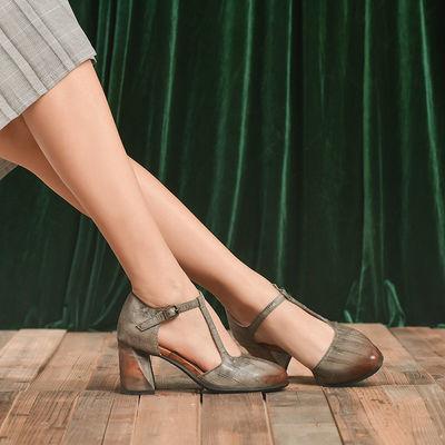 悉帅2020新款浅口真皮高跟鞋女粗跟玛丽珍复古女鞋圆头真牛皮凉鞋