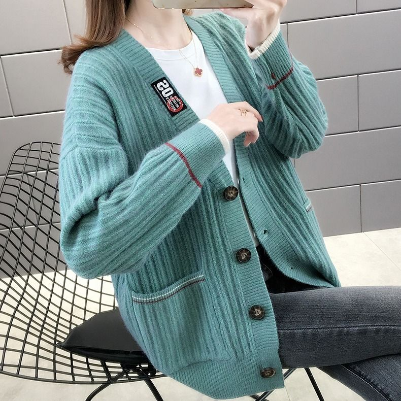 2021春季毛衣女新款学院风百搭韩版春秋款时尚宽松针织开衫外套女