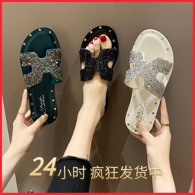 鞋子女学生韩版时尚外穿h拖鞋女水钻港风平底一字拖沙滩凉拖女