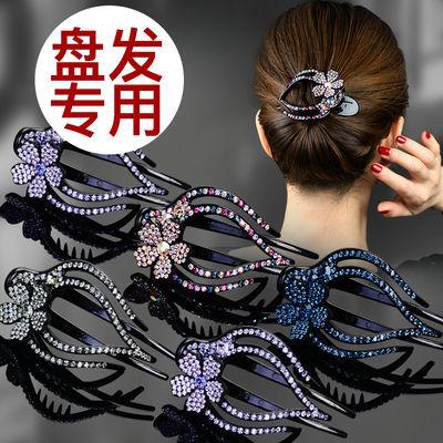 鸭嘴夹头饰大号盘发韩国水钻优雅发夹盘头发夹子发饰发卡子三齿夹