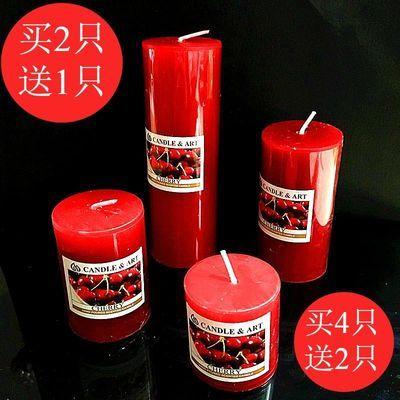 香薰蜡烛红色圆柱蜡烛浪漫无烟熏香蜡烛生日创意求婚欧式大蜡烛