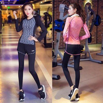 健身房瑜伽服套装秋冬女运动三四件套跑步裤速干文胸上衣显瘦长袖