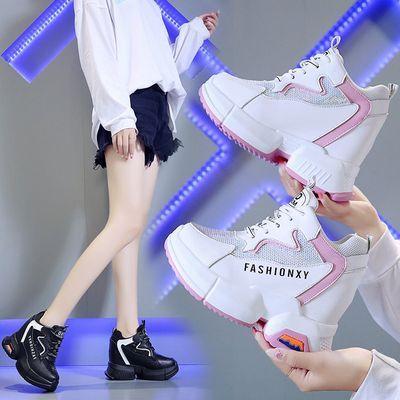 内增高老爹鞋女ins潮春季10cm超高跟2020新款网红厚底网面运动鞋