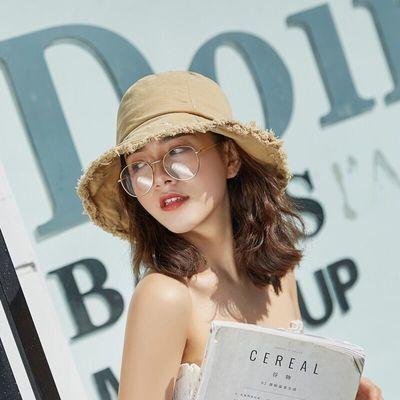 帽子女韩版学生遮阳帽日系百搭磨边渔夫帽夏天出游防紫外线防晒帽