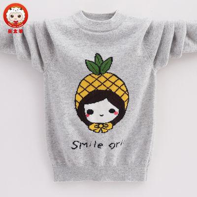 儿童羊绒衫新款女童毛衣打底衫圆领套头卡通图案中大童羊毛衫薄款