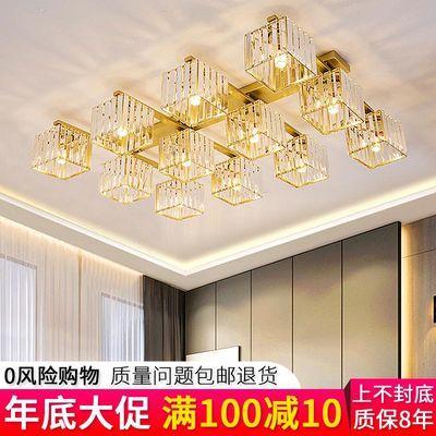轻奢水晶灯客厅灯卧室LED长方形书房灯具简约现代大气家用吸顶灯