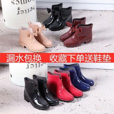 【可加绒袜】雨鞋女时尚短筒秋冬学生韩版水鞋防水防滑厨房马丁靴