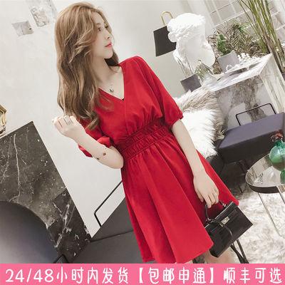 2020新款韩版夏女装收腰红色宽松遮肚子气质V领修身显瘦连衣裙潮