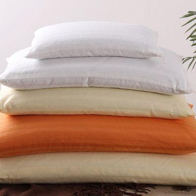 涤棉枕头芯酒店宾馆家用白色缎条内胆皮枕芯套拉链枕头套装荞麦壳