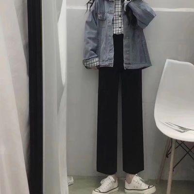 2020春装新款黑色直筒裤女学生韩版宽松休闲裤夏季百搭九分西装裤