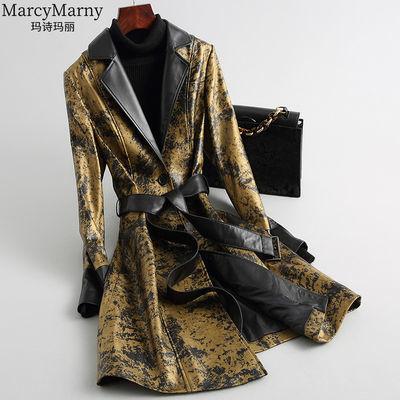玛诗玛丽 2020新款海宁真皮皮衣女中长款系带修身印花绵羊皮外套