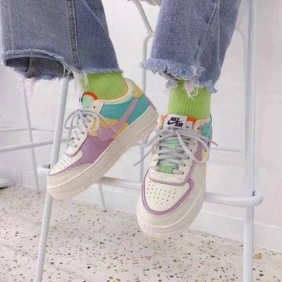 NIKE女鞋 2020春夏款耐克顿空军一号时尚中低帮休闲女板鞋 糖果版