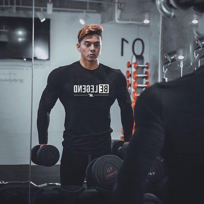 肌肉健身兄弟新款户外运动长袖男士 潮流健身弹力修身长袖打底衫