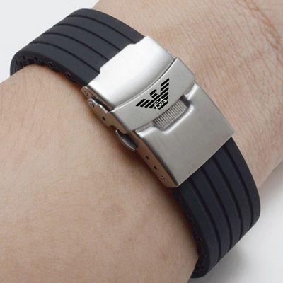 阿玛尼橡胶手表带 代用原装AR系列 0828 11097 男士硅胶表带2220