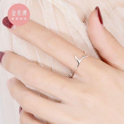 日系轻奢纯银鹿角戒指女ins潮冷淡风食指尾戒不掉色设计师款可调