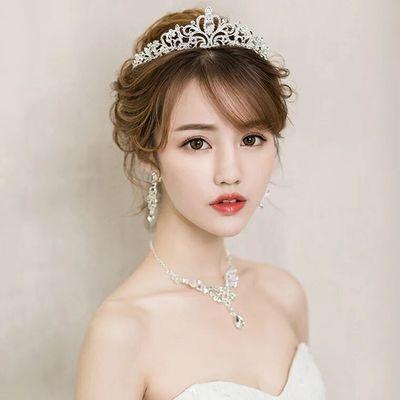 2019新款新娘头饰三件套皇冠项链套装结婚大气超仙发饰婚纱配饰品