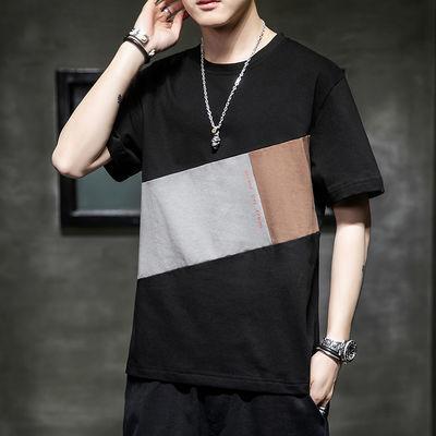 夏季男士短袖t恤潮牌潮流青年韩版半袖上衣服ins五分袖宽松体恤衫