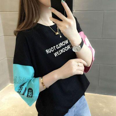 100%纯棉宽松短袖t恤韩版夏装女装百搭上衣半袖嘻哈打底衫女学生