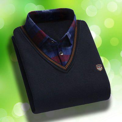 春秋款男士针织衫毛衣假两件针织衫中青年圆领打底衫加绒加厚毛衫