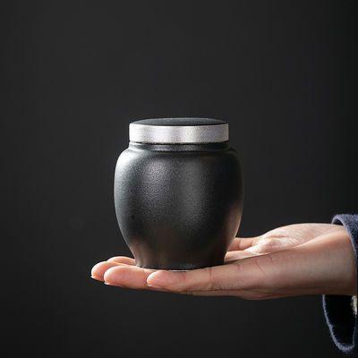 鎏银黑陶禅风茶叶罐粗陶小号密封罐陶瓷家用储物罐普洱存储茶仓