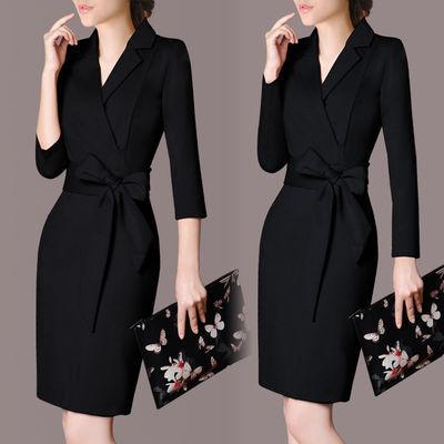 加绒/常规 气质淑女裙子新款ol大码女装修身连衣裙秋冬韩版职业裙
