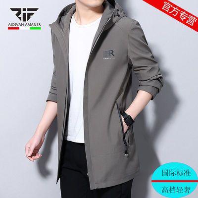 乔奇阿玛尼春秋新款精神小伙外套风衣男夹克中长款学生韩版男装潮