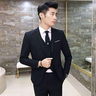 新款冲销量西服套装五件套男士韩版修身职业正装商务休闲小西装