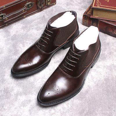 韩版男士高帮皮鞋男鞋潮流马丁靴男真皮短靴尖头雕花男靴拉链皮靴