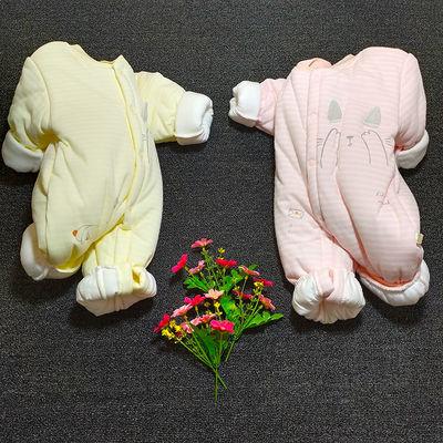 新生婴儿连体衣服秋冬季夹棉保暖棉衣宝宝爬服哈衣加厚冬装