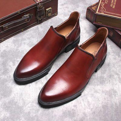 秋冬新款男士休闲高帮皮鞋男尖头英伦马丁靴真皮靴子男靴潮流短靴