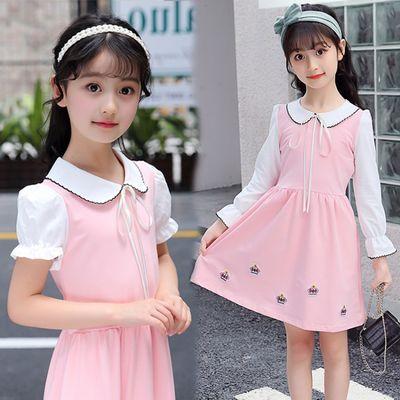 女童皇冠连衣裙2020春夏新款女孩娃娃领长袖裙子中大童洋气公主裙