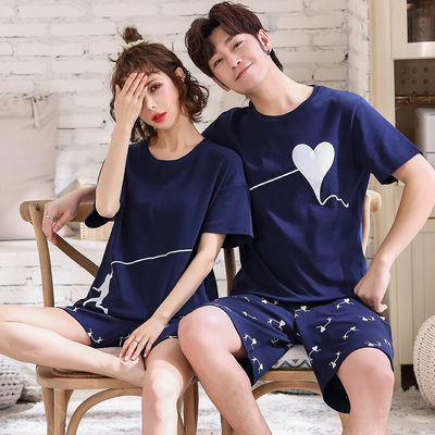 情侣睡衣女夏季短袖棉质薄款韩版可爱夏天两件套装男士大码家居服