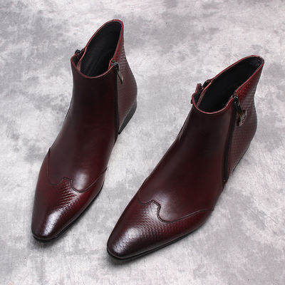 欧美复古蛇纹尖头马丁靴男皮靴韩版真皮高帮鞋男士英伦拉链短靴潮