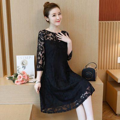 大码女装连衣裙2021春季新款200斤胖mm蕾丝宽松遮肚七分袖打底裙