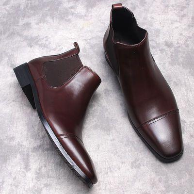 冬季新款马丁靴男高帮皮鞋方头皮靴真皮短靴潮流休闲三接头男靴子