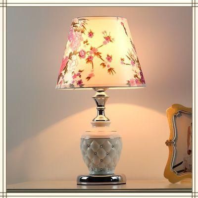 陶瓷水晶球玻璃罩台灯中式客厅卧室床头灯 简约LED灯具酒店客房灯