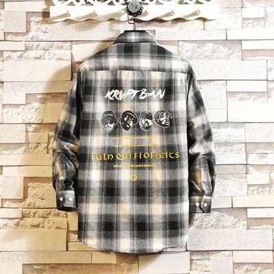 秋季格子衬衫男长袖潮流男装外套韩版修身青年学生休闲男士衬衣服