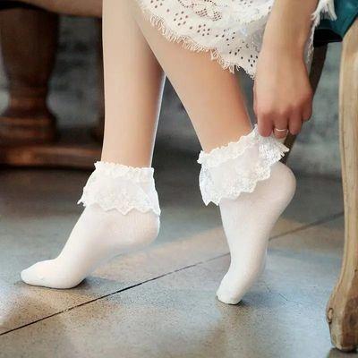 日系复古蕾丝袜子黑色美腿纯棉袜子公主白色森系花边袜短筒堆堆袜