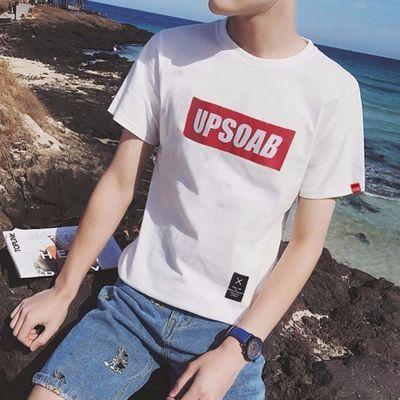 UP男士原宿T恤夏季字母短袖韩版白色学生纯色帅气百搭潮男打底衫