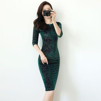 连衣裙2020春装新款韩版OL气质修身包臀长袖连衣裙中长款裙子新款