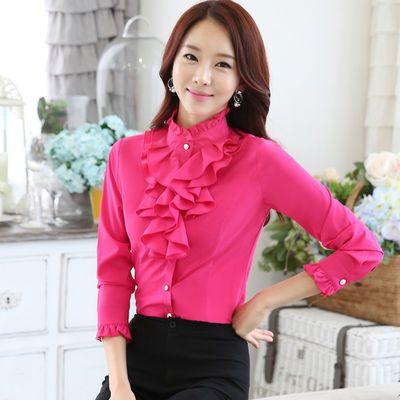 立领红色衬衫女长袖韩版气质2020秋季新款木耳上衣荷叶边雪纺衬衣
